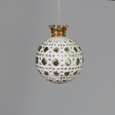 Bombka biała z królewską koroną