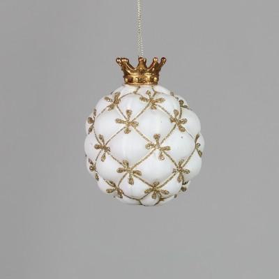 Bombka biała z królewską koroną pikowana