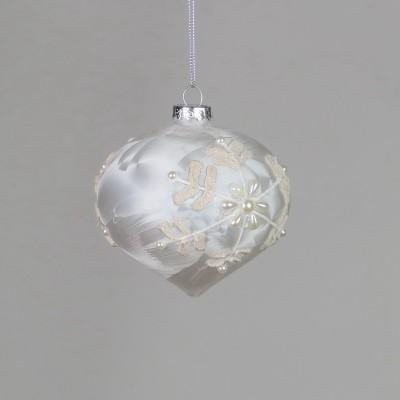 Bombka kulista perłowa zdobiona