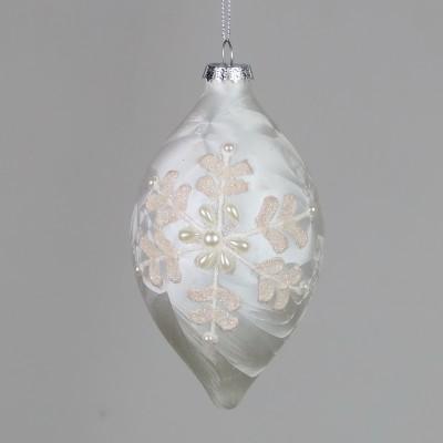 Bombka podłużna perłowa zdobiona
