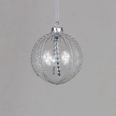 Bombka szklana ze srebrnymi wzorami