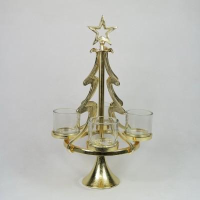 Złota choinka świecznik